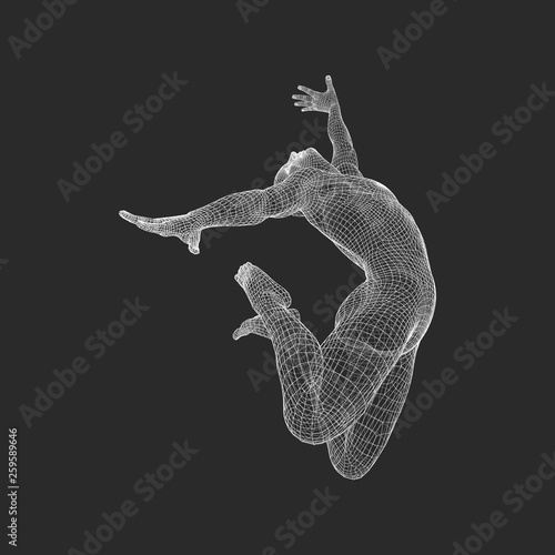 Fototapeta Gymnast. 3D Model of Man. Human Body Model. Gymnastics Activities for Icon Health and Fitness Community. obraz