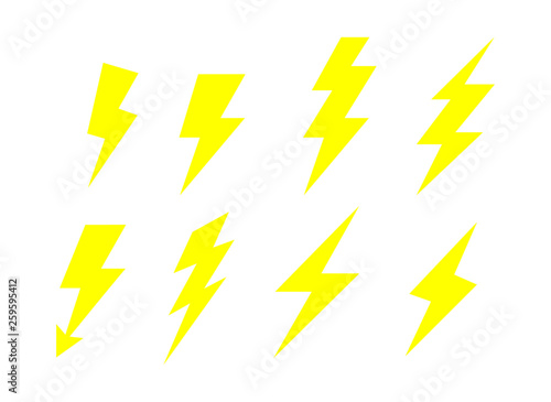 Obraz Lightning bolt  Flash Icons Set. electricity power. yellow Thunder Isolated on white background. Vector Illustration. - fototapety do salonu