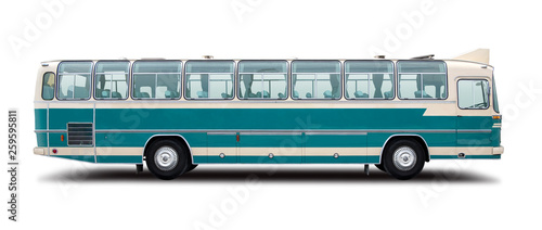 Fotografiet Classic bus side view  isolated on white