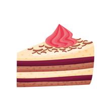 Mocha Cake With Cream On White Background.