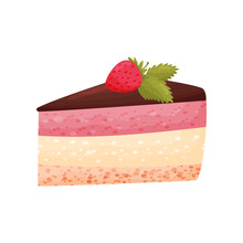 Berry Cake On White Background. Bakery Concept.
