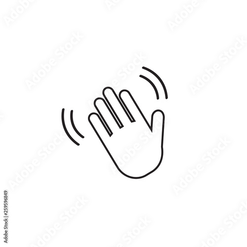 Hand wave  waving hi or hello gesture line art vector icon for apps and websites Wallpaper Mural