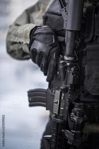 Fotografie, Obraz  Assault Rifle on Chest Rig Closeup