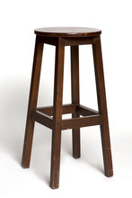 Brown Wooden Stool On The Whit...