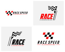 Set Of Race Flag Design Concepts Icon. Speed Flag Simple Design Illustration Vector. Icon Symbol