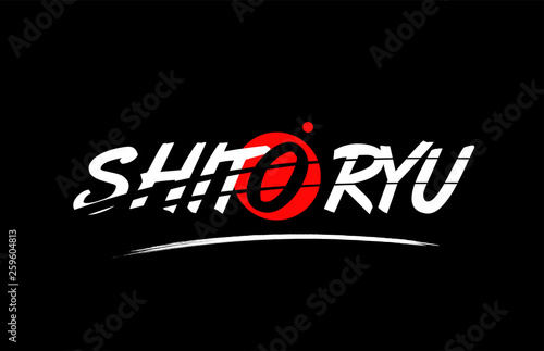 Photo  shito ryu word text logo icon with red circle design