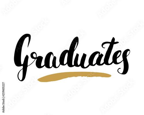 Graduation lettering handwritten sign, Hand drawn grunge calligraphic text Canvas-taulu