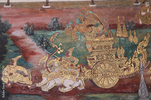 Stampa su Tela The Ramakien (Ramayana) mural paintings along the galleries of the Temple of the