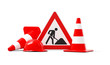 Leinwanddruck Bild - Under construction, road sign, traffic cones and red safety helmet, isolated on white background. 3D rendering