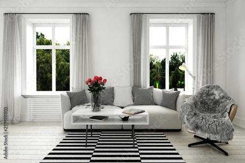 Photo Minimaltistische couch in Wohnzimmer (skandinavischer Stil)