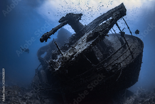 Garden Poster Shipwreck Wrack der SS Thistlegorm im Roten Meer in Ägypten
