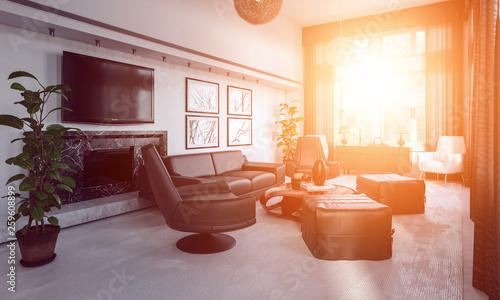 3d Rendering. Luxus Wohnzimmer mit hellem Sonnenlicht Canvas Print