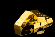 Shiny Gold Bars On Black Backg...
