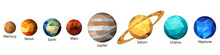 Set Of Triangle Polygonal Silhouette Of Solar System Planets. Polygon Design. Low Poly Art.