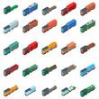 Railway carriage icons set. Isometric set of 25 railway carriage vector icons for web isolated on white background