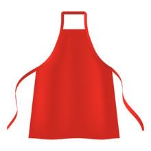Red Apron Icon. Realistic Illu...