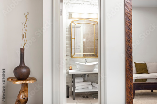 . Luxury Modern contemporary interior bathroom with sink and mirror