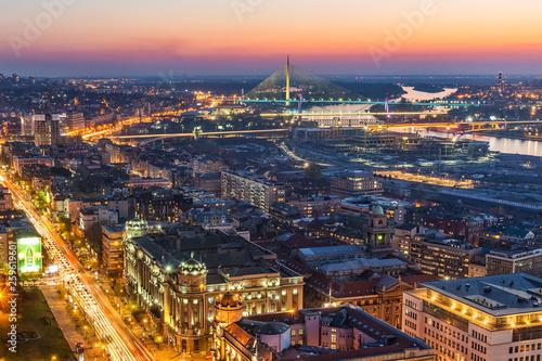 Belgrade, Serbia March 31, 2019: Panorama of Belgrade at night. Aerial Shot of Belgrade. © nedomacki