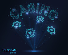 Casino Hologram. Holographic Projection Of Casino Chips. Flickering Energy Flux Of Particles. The Scientific Design Of Gambling.