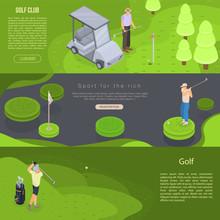 Golf Banner Set. Isometric Set...