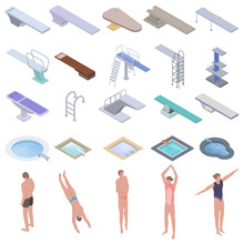 Diving Board Icons Set. Isomet...