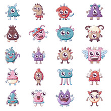 Monsters Icons Set. Cartoon Set Of Monsters Vector Icons For Web Design