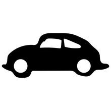 Retro Bug Car Icon Vector Eps10. Old Bug Retro Classic Car Black Color Sign. Volkswagen Beetle Car.