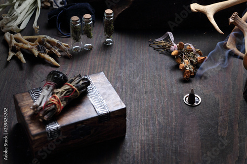 Witchcraft and magic  Incenses made of white sage and cedar