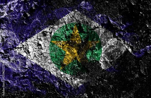 Fotografija  Brazil states - Mato Grosso smoky mystical flag on the old dirty wall background