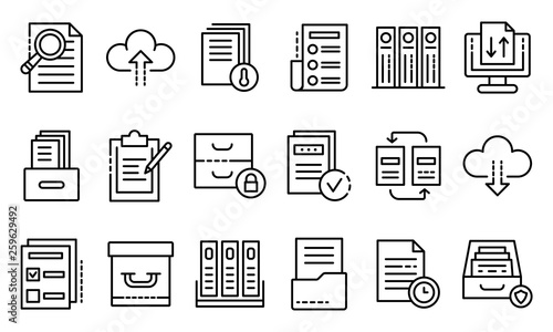 Obraz Archive icons set. Outline set of archive vector icons for web design isolated on white background - fototapety do salonu