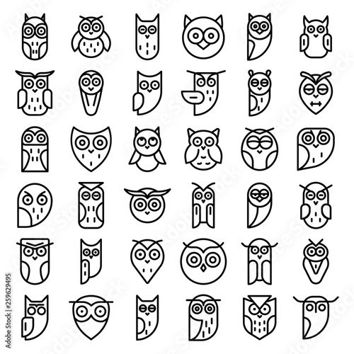 Canvas Prints Owls cartoon Owl icons set. Outline set of owl vector icons for web design isolated on white background