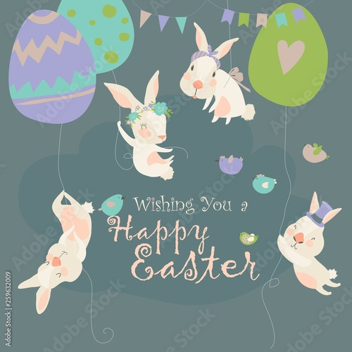 Easter bunnies and Easter eggs. Happy holidays