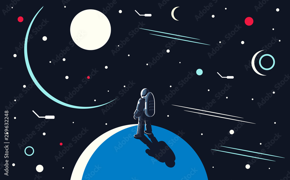 Fototapety, obrazy: Vector conceptual illustration of an astronaut standing on the planet and looking into outer space at the sun and other planets