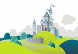 Landscape with cartoon medieval castle