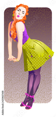 Attractive pin-up girl with fiery red hair Canvas Print