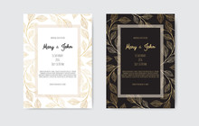 Golden Vector Invitation With Floral Elements. Luxury Ornament Template. Greeting Card, Invitation Design Background
