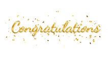 Congratulations Banner With Golden Confetti And Ribbon. Vector Illustration