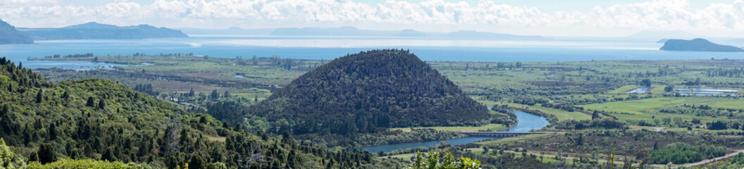 Panoramic View of Mount Maunganamu Hill and Lake Taupo in New Zealand
