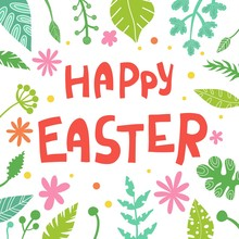 Happy Easter Isolated With Whi...
