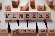 Members Word In Wooden Stamp Cube
