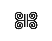 Initial Letter B H Forming A Butterfly With Floral Wings