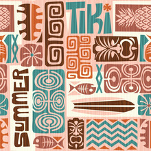 Seamless Exotic Tiki Pattern. Use For Wallpaper, Fabric Patterns, Backgrounds. Vector Illustration