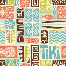 Seamless Exotic Tiki Pattern. ...