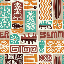Seamless Exotic Tiki Pattern. ...
