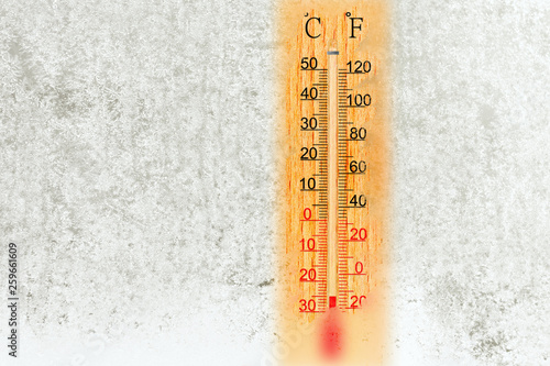 Outdoor Thermometer On A Frosty Window Temperature Minus 25 Degrees Celsius
