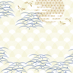FototapetaJapanese pattern with dragonfly, moon and wave elements. Gold and blue geometric background.