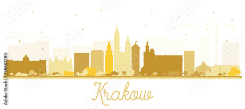 Krakow Poland City Skyline Silhouette with Golden Buildings Isolated on White.
