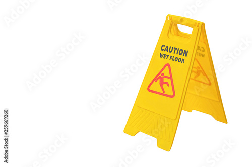 Fotografie, Obraz  Isolated Warning plates wet floor on a white background with clipping path
