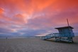 canvas print picture - Lifeguard tower at sunset at Hermosa Beach, California
