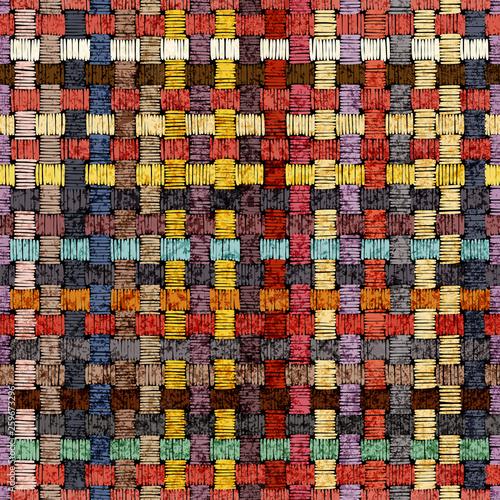 wyszywany-bezszwowy-wzor-geometryczny-ozdoba-na-dywan-motywy-etniczne-i-plemienne-vintage-grunge-tekstury-kolorowy-druk-recznie-ilustracji-wektorowych